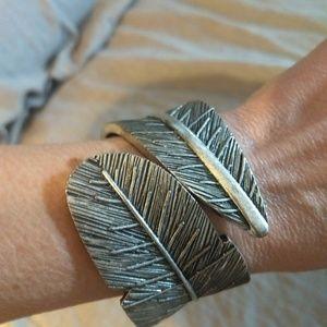 Silver leaf bracelet cuff